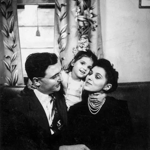 Author and father with mother in little black dress and pearls