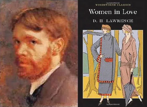 D. H. Lawrence portrait with cover of Women in Love