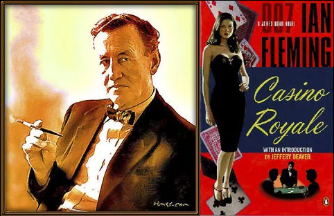 Ian Fleming with the cover of Casino Royale