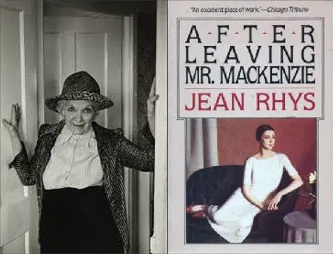 Jean Rhys with the cover of her book After Leaving Mr. MacKenzie