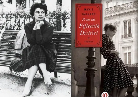 Mavis Gallant with the cover of her book, From the Fifteenth District