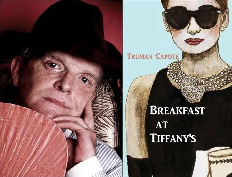 Truman Capote and cover of Breakfast at Tiffany's